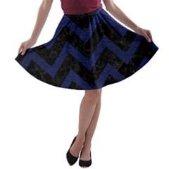 CHV9 BK-MRBL BL-LTHR A-line Skater Skirt