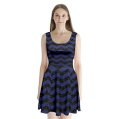 Chevron3 Black Marble & Blue Leather Split Back Mini Dress