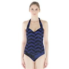 CHV2 BK-MRBL BL-LTHR Halter Swimsuit