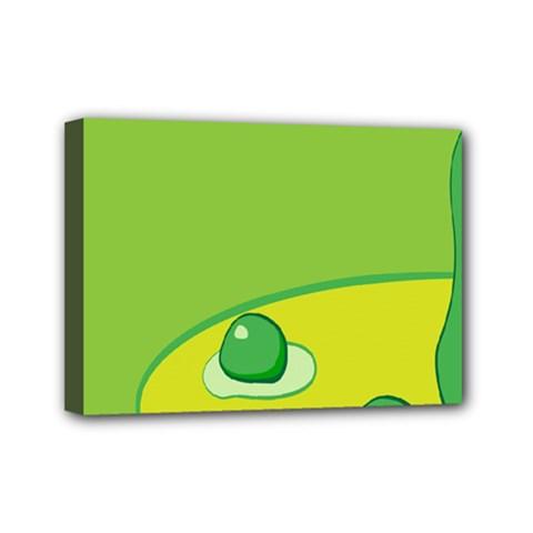 Food Egg Minimalist Yellow Green Mini Canvas 7  x 5