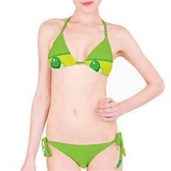 Food Egg Minimalist Yellow Green Bikini Set