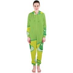 Food Egg Minimalist Yellow Green Hooded Jumpsuit (Ladies)