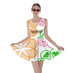 Flower Floral Love Valentine Star Pink Orange Green Skater Dress