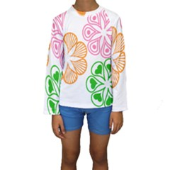 Flower Floral Love Valentine Star Pink Orange Green Kids  Long Sleeve Swimwear