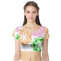 Flower Floral Love Valentine Star Pink Orange Green Short Sleeve Crop Top (Tight Fit)