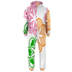 Flower Floral Love Valentine Star Pink Orange Green Hooded Jumpsuit (Men)