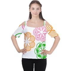 Flower Floral Love Valentine Star Pink Orange Green Women s Cutout Shoulder Tee