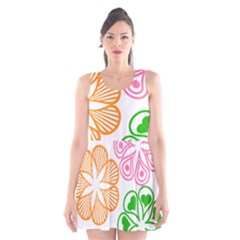 Flower Floral Love Valentine Star Pink Orange Green Scoop Neck Skater Dress