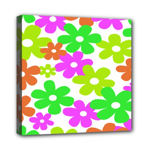 Flowers Floral Sunflower Rainbow Color Pink Orange Green Yellow Mini Canvas 8  x 8
