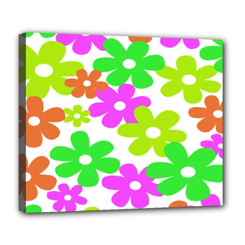 Flowers Floral Sunflower Rainbow Color Pink Orange Green Yellow Deluxe Canvas 24  x 20