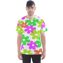 Flowers Floral Sunflower Rainbow Color Pink Orange Green Yellow Men s Sport Mesh Tee