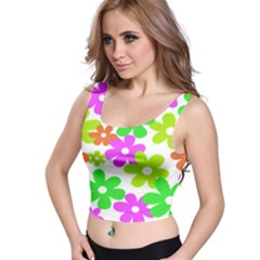 Flowers Floral Sunflower Rainbow Color Pink Orange Green Yellow Crop Top