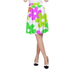 Flowers Floral Sunflower Rainbow Color Pink Orange Green Yellow A-Line Skirt
