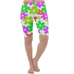 Flowers Floral Sunflower Rainbow Color Pink Orange Green Yellow Cropped Leggings