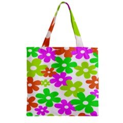 Flowers Floral Sunflower Rainbow Color Pink Orange Green Yellow Zipper Grocery Tote Bag