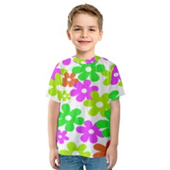 Flowers Floral Sunflower Rainbow Color Pink Orange Green Yellow Kids  Sport Mesh Tee