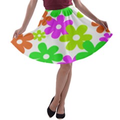 Flowers Floral Sunflower Rainbow Color Pink Orange Green Yellow A-line Skater Skirt