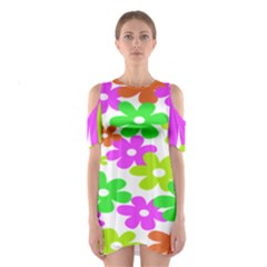 Flowers Floral Sunflower Rainbow Color Pink Orange Green Yellow Shoulder Cutout One Piece