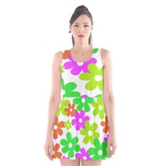 Flowers Floral Sunflower Rainbow Color Pink Orange Green Yellow Scoop Neck Skater Dress