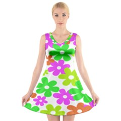 Flowers Floral Sunflower Rainbow Color Pink Orange Green Yellow V-Neck Sleeveless Skater Dress