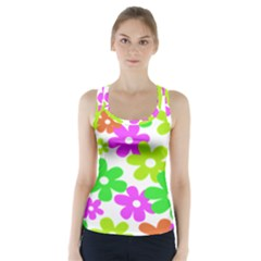Flowers Floral Sunflower Rainbow Color Pink Orange Green Yellow Racer Back Sports Top