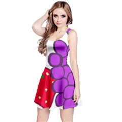 Fruit Grapes Strawberries Red Green Purple Reversible Sleeveless Dress