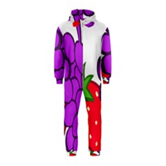 Fruit Grapes Strawberries Red Green Purple Hooded Jumpsuit (Kids)