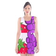 Fruit Grapes Strawberries Red Green Purple Scoop Neck Skater Dress