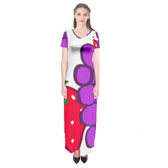 Fruit Grapes Strawberries Red Green Purple Short Sleeve Maxi Dress