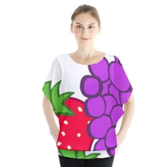 Fruit Grapes Strawberries Red Green Purple Blouse