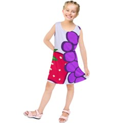 Fruit Grapes Strawberries Red Green Purple Kids  Tunic Dress