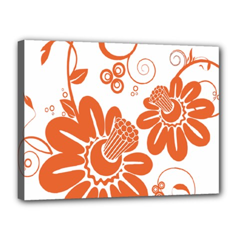 Floral Rose Orange Flower Canvas 16  x 12