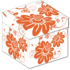 Floral Rose Orange Flower Storage Stool 12