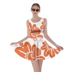 Floral Rose Orange Flower Skater Dress