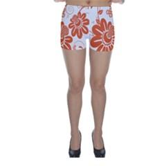 Floral Rose Orange Flower Skinny Shorts