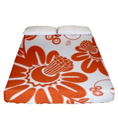 Floral Rose Orange Flower Fitted Sheet (queen Size)