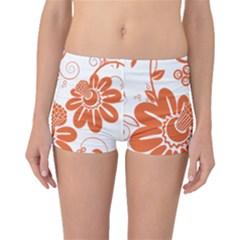 Floral Rose Orange Flower Boyleg Bikini Bottoms