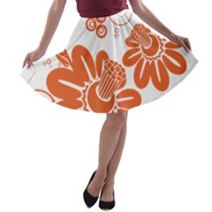Floral Rose Orange Flower A-line Skater Skirt
