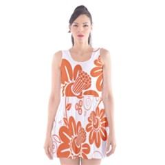 Floral Rose Orange Flower Scoop Neck Skater Dress