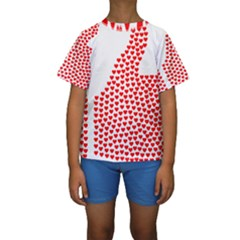 Heart Love Valentines Day Red Sign Kids  Short Sleeve Swimwear