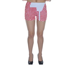 Heart Love Valentines Day Red Sign Skinny Shorts