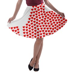 Heart Love Valentines Day Red Sign A-line Skater Skirt