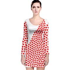 Heart Love Valentines Day Red Sign Long Sleeve Velvet Bodycon Dress