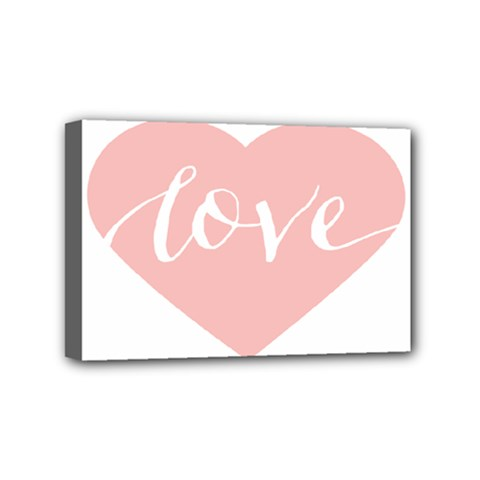 Love Valentines Heart Pink Mini Canvas 6  x 4