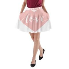 Love Valentines Heart Pink A-Line Pocket Skirt