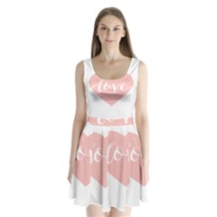 Love Valentines Heart Pink Split Back Mini Dress