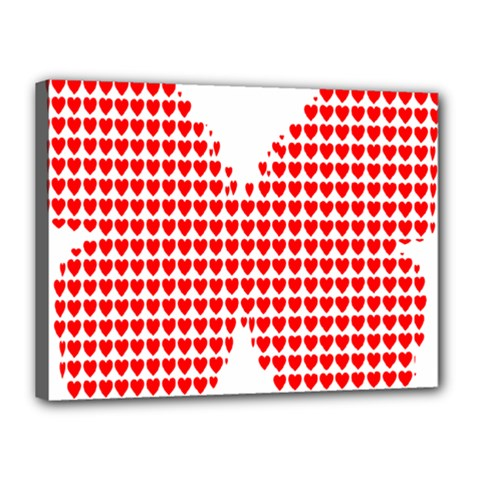 Hearts Butterfly Red Valentine Love Canvas 16  X 12