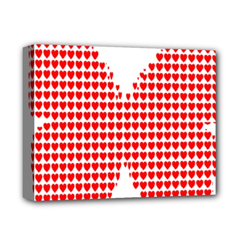 Hearts Butterfly Red Valentine Love Deluxe Canvas 14  x 11