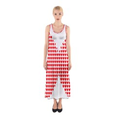 Hearts Butterfly Red Valentine Love Sleeveless Maxi Dress