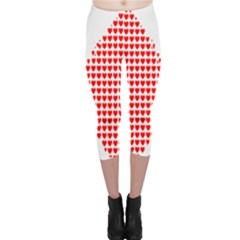 Hearts Butterfly Red Valentine Love Capri Leggings